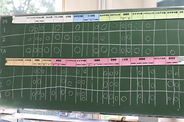 班に分かれ、昆虫全32目のうちどれだけ採集できたか競いました。